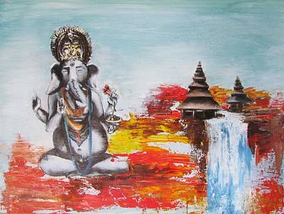 Ganesha Art Print by Casey Pretzeus
