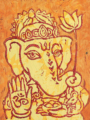 Ganesha Gold And Maroon Art Print
