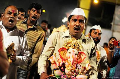 Photograph - Ganesha Immersion by Money Sharma