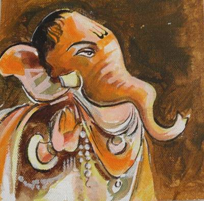 Painting - Ganesha In Brown by Chintaman Rudra