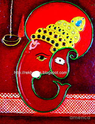 Painting - Ganesha Mseal Mural  by Rekha Artz
