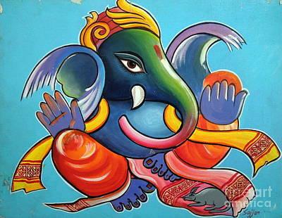 Modern Ganesha Painting - Ganesha by Sajjan Chopra
