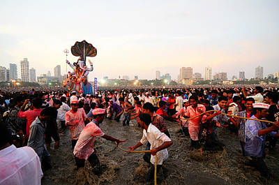 Photograph - Ganesha's Final Procession by Money Sharma