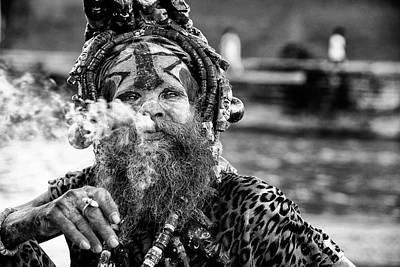 Smokers Photograph - Ganga Baba by Goran Jovic