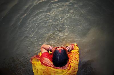 Ganges Bath Art Print by Money Sharma