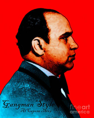Gangman Style - Al Capone C28169 - Red - Painterly Art Print by Wingsdomain Art and Photography