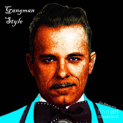 Gangman Style - John Dillinger 13225 - Black - Color Sketch Style - With Text Art Print by Wingsdomain Art and Photography