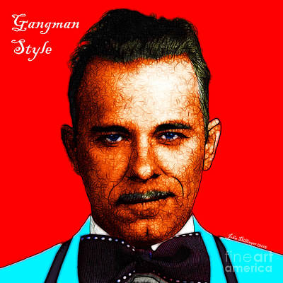 Gangman Style - John Dillinger 13225 - Red - Color Sketch Style - With Text Art Print by Wingsdomain Art and Photography