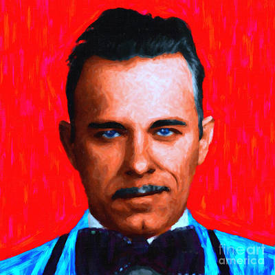 Gangman Style - John Dillinger 13225 - Red - Painterly Art Print by Wingsdomain Art and Photography
