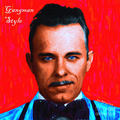 Gangman Style - John Dillinger 13225 - Red - Painterly - With Text Art Print by Wingsdomain Art and Photography