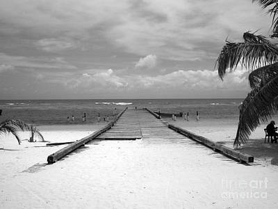 Gangplank Of Perfection Black And White Art Print by Heather Kirk