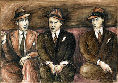 Painting - Gangster Movie - Watercolor by Art America Gallery Peter Potter