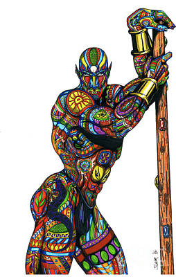 Gay Fantasy Drawing - Gann-white by Steven Lamm
