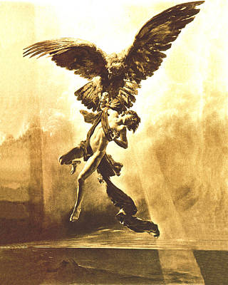 Zeus Painting - Ganymede Capta  by Troy Caperton