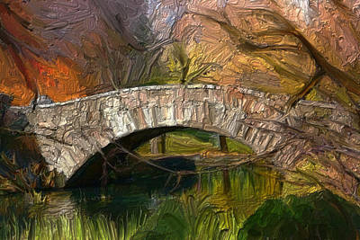 Digital Art - Gapstow Bridge In Central Park by GCannon