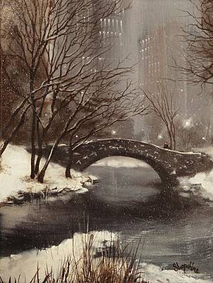 Snow Scene Painting - Gapstow Bridge Nyc by Tom Shropshire