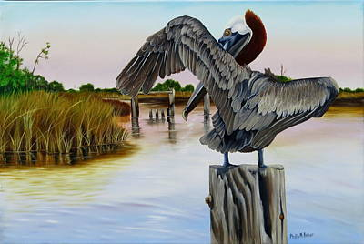 Art Print featuring the painting Gar Lake Pelican 2 by Phyllis Beiser