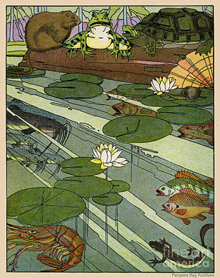 Garada Clark Riley Living Pond With Frog Turtle Lily Pads Fish Crawfish Mouse Snail Lizard Etc Art Print by Pierpont Bay Archives