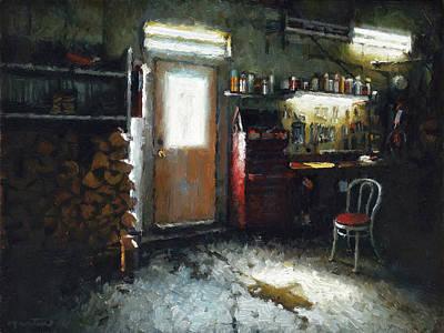 Quebec Painting - Garage by Nicolas Martin