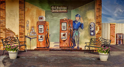 Wall Mural Photograph - Garage Mural - Old Fashion Quality Service by Frank J Benz