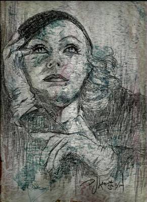 Female Face Drawing - Garbo by P J Lewis