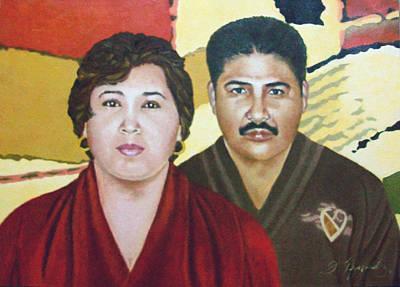 Garcia Family Portrait  Retrato De La Pareja Garca Art Print by Fernando A Hernandez