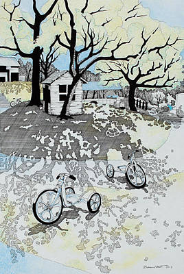Bicycle Wall Art - Drawing - Garden # 3 by Zuzana Vass