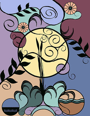 Digital Art - Garden And June Moon by Deborah Smith