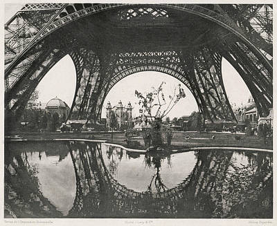 Eiffel Tower Drawing - Garden At The Base Of The Tower by Mary Evans Picture Library