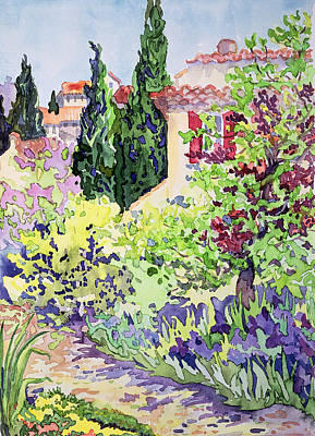 Digital Watercolor Painting - Garden At Vaison by Julia Gibson