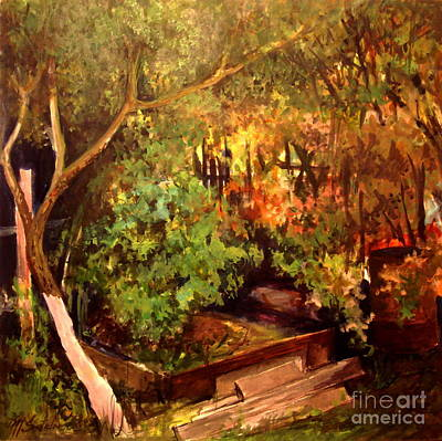 Painting - Garden Backyard Corner by Mikhail Savchenko
