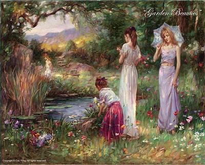 Cao Yong Painting - Garden Beauties by Cao Yong