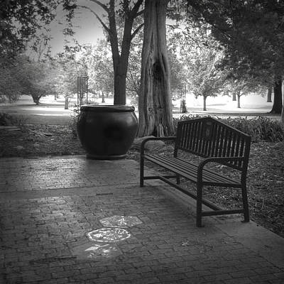 Photograph - Garden Bench Black And White Photograph by Ann Powell