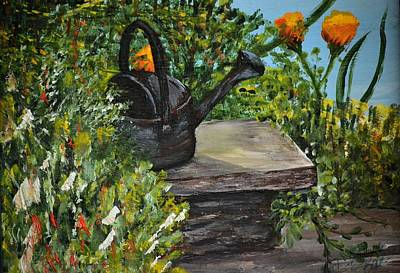 Art Print featuring the painting Garden Bench by Debbie Baker