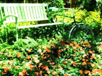 Decorative Benches Mixed Media - Garden Bench by Florene Welebny