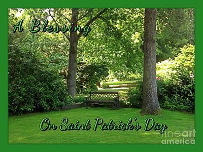 Garden Bench On Saint Patrick's Day Art Print