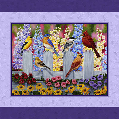 Garden Birds Duvet Cover Purple Art Print by Crista Forest