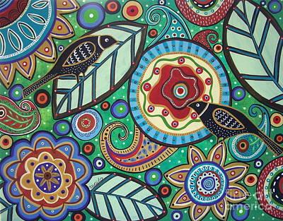 Folk Painting - Garden Birds by Karla Gerard
