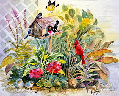 Painting - Garden Birds by Marilyn Smith