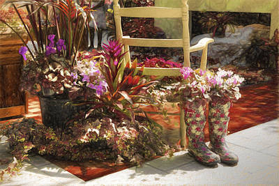 Re-purposed Photograph - Garden Boots by L Wright