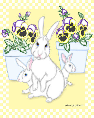 Digital Art - Garden Bunnies by Alison Stein
