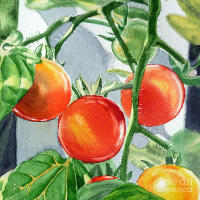 Red Tomatoes Painting - Garden Cherry Tomatoes  by Irina Sztukowski