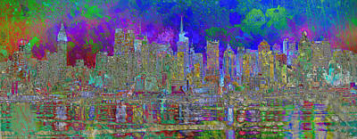 Digital Art - Garden City Art Blue by Mary Clanahan