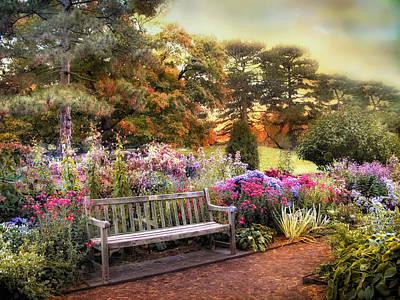 Bench Digital Art - Garden Delight by Jessica Jenney