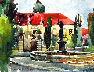 Painting - Garden Do Torel Fountain In Lisbon by Anna Lobovikov-Katz