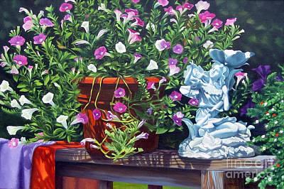 Terra Painting - Garden Fairy Bells by Rosemarie Morelli