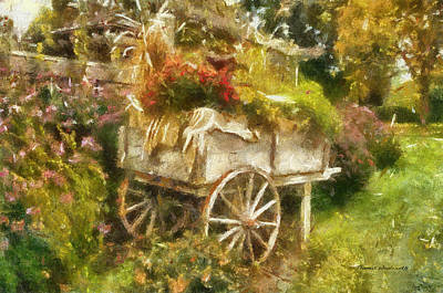 Tom Woolworth Digital Art - Garden Flower Cart Photo Art 01 by Thomas Woolworth