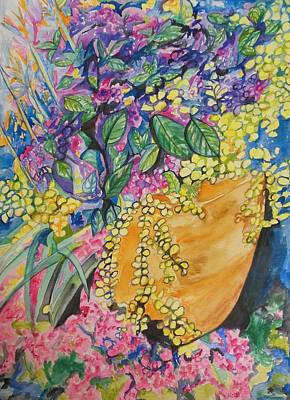 Garden Flowers In A Pot Original by Esther Newman-Cohen