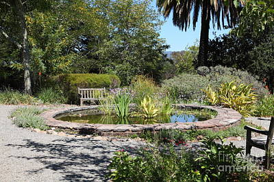Garden Fountain At Historic Jack London Cottage In Glen Ellen California 5d24545 Art Print by Wingsdomain Art and Photography