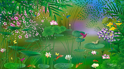Digital Art - Garden - Limited Edition 1 Of 20 by Gabriela Delgado